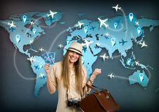 Travel around the world. Happy tourist with ticket for travel around the world stock images
