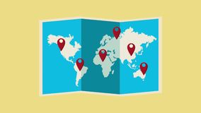Travel around the world HD animation. World map with destionations pins High Definition colorful animation scenes stock footage