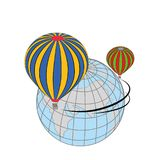 Travel around the world in a hot air balloon. concept of travel. vector illustration. Stock Image