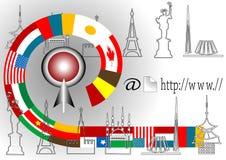 Travel around the world through internet. Stock Images