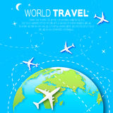 Travel around the World map background . Stock Images