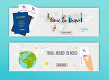 Travel around the World. Online booking ticked. Buy Ticket Onlin. E.  Flat design modern vector illustration concept Stock Photography