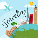 Travel around the world poster. Stock Photography