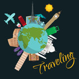 Travel around the world poster. Tourism and vacation, earth world, journey global, vector illustration. World travel Stock Photo