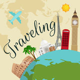 Travel around the world poster. Tourism and vacation, earth world, journey global, vector illustration. World travel Stock Images