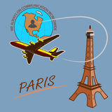 Travel around the world quickly, safely and comfortably. Drawing a passenger airplane in flight. A trip from America to Europe and Paris. For advertising and Stock Photos