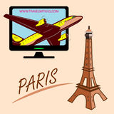 Travel around the world quickly, safely and comfortably. Drawing a passenger airplane in flight. A trip from America to Europe and Paris. For advertising and Stock Photo
