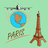 Travel around the world quickly, safely and comfortably. Drawing a passenger airplane in flight. A trip from America to Europe and Paris. For advertising and Royalty Free Stock Photo
