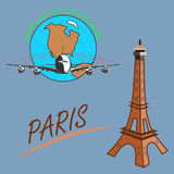 Travel around the world quickly, safely and comfortably. Drawing a passenger airplane in flight. A trip from America to Europe and Paris. For advertising and Royalty Free Stock Photography