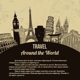 Travel around the World retro poster Stock Photography