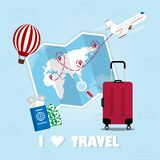 Travel 02. Travel around the world. Summer vacation planning. Travel by plane, plane ticket, money, passport, red suitcase. Tourism for relaxation and fun on stock illustration