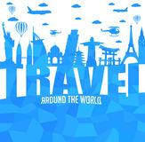 Travel Around the World Text with Famous Landmarks and Travel Objects in Abstract Stock Photo