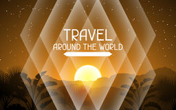 Travel around the world. Tropical background with landscape, sun and palm trees Royalty Free Stock Images