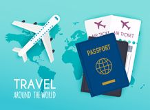 Travel around the World. Vacation booking.  Flat design modern v Stock Image