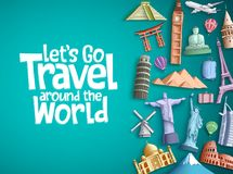 Travel around the world vector background design with famous tourism landmarks and world attractions elements Stock Images