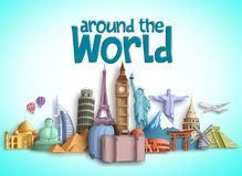 Travel around the world vector banner design with travel destinations and famous tourist landmarks. Of different countries. Colorful buildings and monuments stock illustration