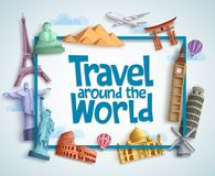Travel around the world vector banner design with frame and famous landmarks Stock Photo