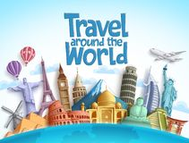 Travel around the world vector design with famous landmarks and tourist destination. Of different countries and places in blue background. Vector illustration stock illustration