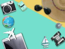 Travel around the world for your colorful life .Enjoy the funny. Trip journey .Top view for copy space some idea your create destination .object cute ,world Stock Image