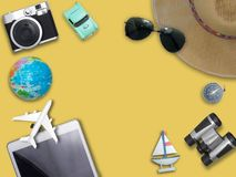 Travel around the world for your colorful life .Enjoy the funny. Trip journey .Top view for copy space some idea your create destination .object cute ,world Stock Images