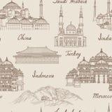 Travel Asia background. World famous landmark seamless pattern. Royalty Free Stock Photos