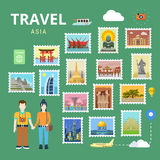 Travel Asia China Japan India flat vector tourism template Royalty Free Stock Photo