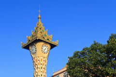 Travel Asia: Clock Tower at Yangon- Myanmar Royalty Free Stock Photo