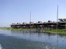 Travel Asia: Inle Lake of Myanmar. Traditional wooden stilt houses at the Inle lake, Myanmar (Burma Royalty Free Stock Images