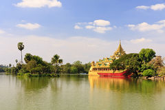 Travel Asia: Karaweik palace in Yangon, Myanmar Royalty Free Stock Photo