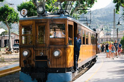 Travel attraction of Mallorca. A vintage tram runs from Palma to Soller. Port de Soller, Mallorca, Spain - May 26, 2016: Tram in the railway station of Soller royalty free stock photos