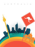 Travel australia 3d paper cut world landmarks royalty free illustration