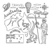 Travel Australia line icons set. Map of the Australia and travel icons collection. Vector illustration Stock Image