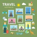 Travel Australia New Zealand flat vector tourism landmark Royalty Free Stock Image