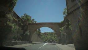 Travel on the Avenue des Comtes d'Armagnac. France-Millau  July 2015. Château Creissels,  the Tarn River. Travel on the Avenue des Comtes d'Armagnac stock footage
