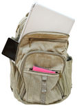 Travel back pack with mobile devices isolated Royalty Free Stock Images