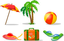 Travel background. Palm, ball, flip-flops and suitcase,illustration picture Royalty Free Stock Photos