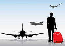 Travel background. Vector illustration of planes, passanger and luggage Royalty Free Stock Photography