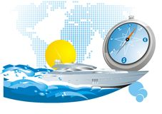 Travel background. With yacht and compass Royalty Free Stock Image
