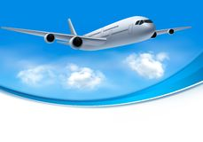 Travel background with airplane. And white clouds Stock Image