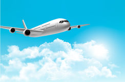 Travel background with an airplane. Vector Stock Image