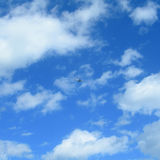 Travel background with airplane on a blue sky Royalty Free Stock Photography
