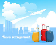 Travel background with airplane and city skyline Royalty Free Stock Photo
