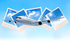Travel background with airplane in front of photos. Of blue sky. Vector Royalty Free Stock Photos