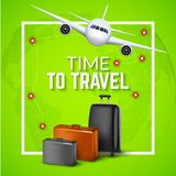 Travel background with airplane and suitcases. World travel banner flyer design. Vacation concept.  Royalty Free Stock Photos
