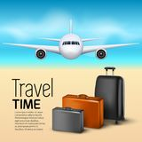Travel background with airplane and suitcases. World travel banner flyer design. Vacation concept.  Stock Photos