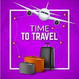 Travel background with airplane and suitcases. World travel banner flyer design. Vacation concept.  Royalty Free Stock Photo