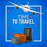 Travel background with airplane and suitcases. World travel banner flyer design. Vacation concept.  Stock Image