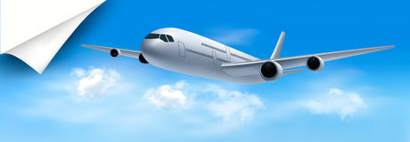 Travel background with airplane and white clouds Royalty Free Stock Photo
