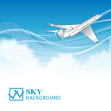 Travel background with airplane and white clouds Stock Images