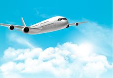 Travel background with an airplane and white clouds. Vector Royalty Free Stock Photos